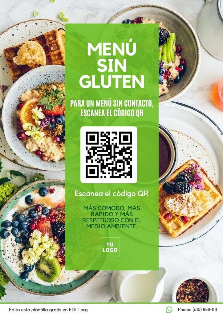 Diseño menu sin gluten personalizable gratis