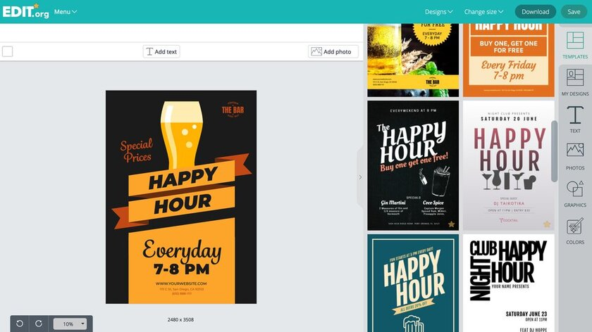 Editable graphic designs to promote happy hour promotions