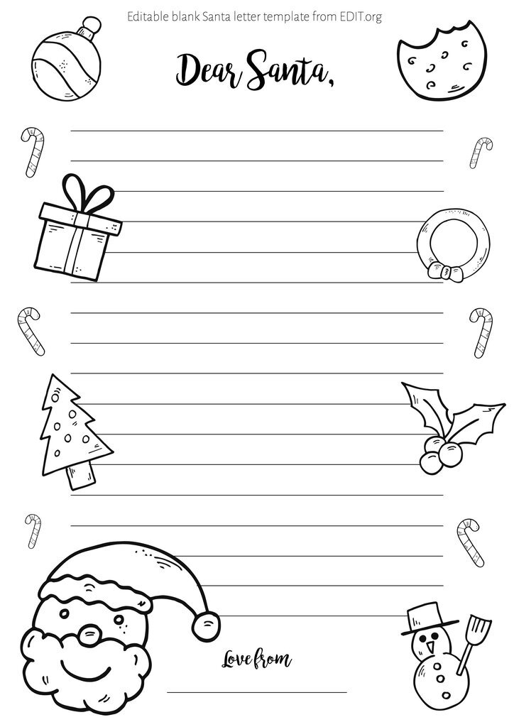 Free printable fill in blank letter from Santa template