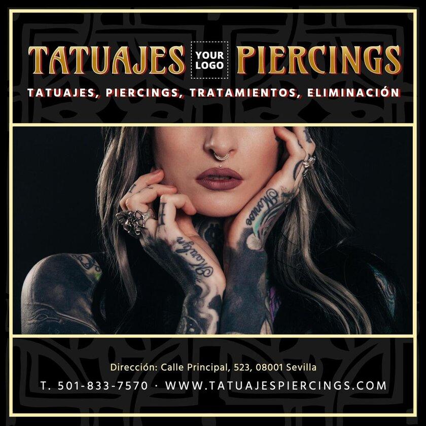 Plantilla editable para presentar tu estudio de tatuajes y piercings