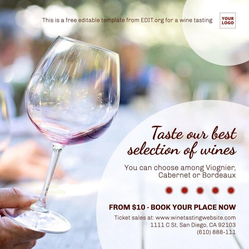 Wine tasting party invitations templates and wine menu designs editable