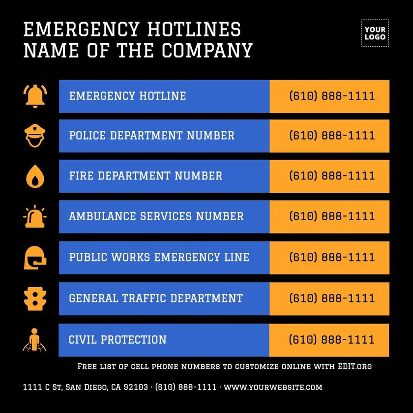Emergency and homeowners list with phone numbers printable