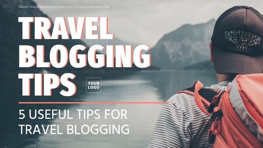 Editable thumbnail designs for travel blog videos