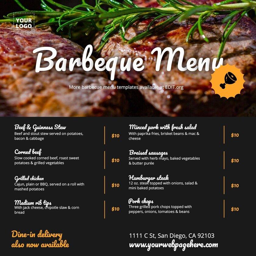 Free bbq menu template to customize