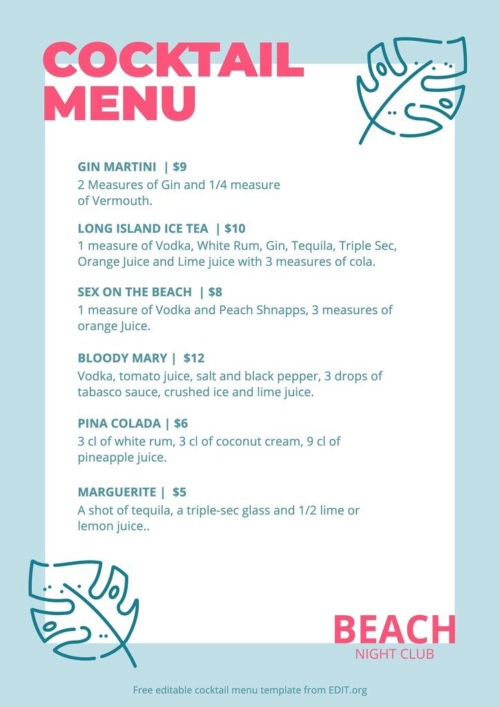 Customizable printable drink menu free template
