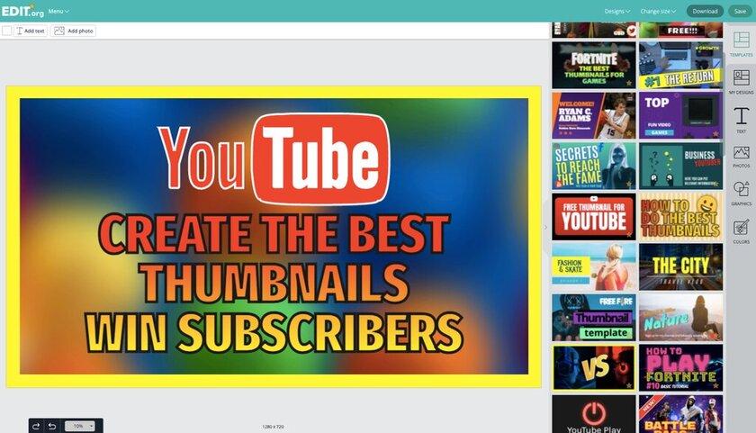 Thumbnail creator with free editable templates