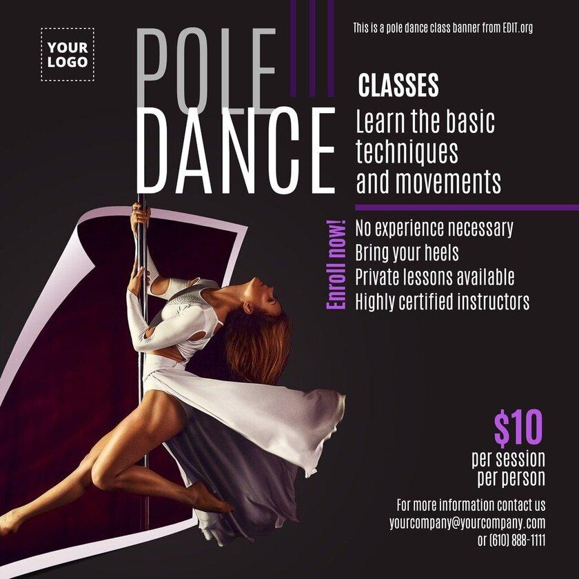 Pole Dance dance school banner