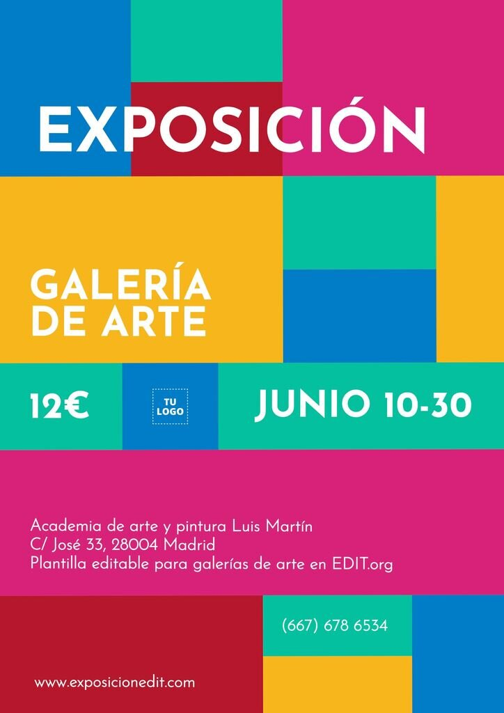 Cartel editable de exposición de galería de arte. Composición con colores y rectángulos
