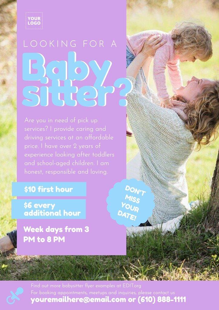 Online babysitting flyer maker