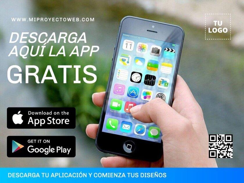 Plantilla de diseño personalizable para promocionar el lanzamiento de una app