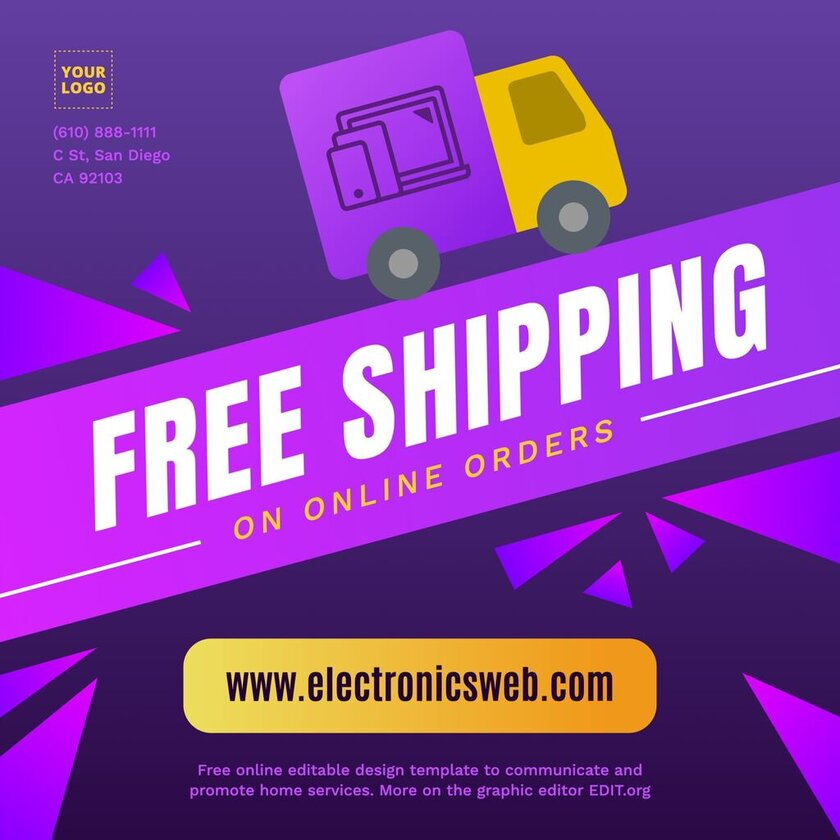 Free shipping ad service template editable online for free
