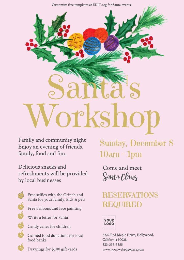 Custom Santa's Workshop editable poster