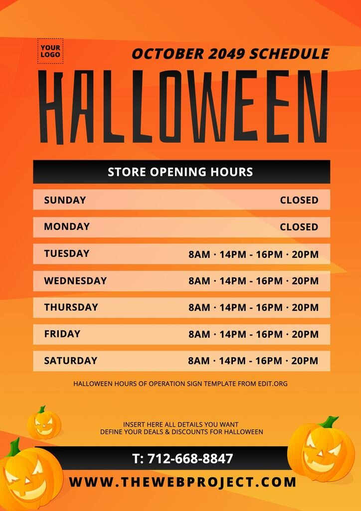 Halloween opening hours sign to customize and print