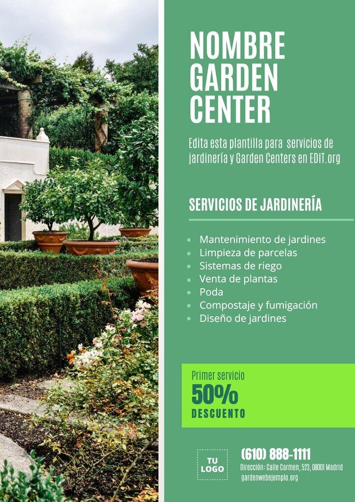 Diseño de plantilla de flyer para Garden Centers (centros de jardinería) para editar online e imprimir