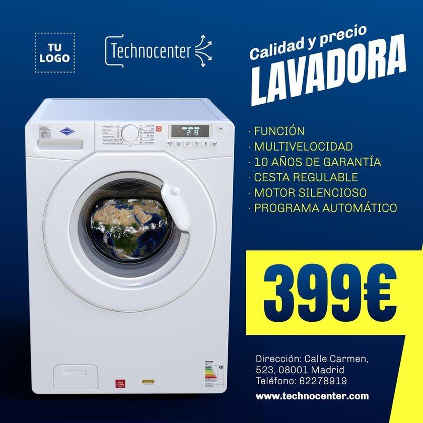 Plantilla cartel editable lavadora con características y precio