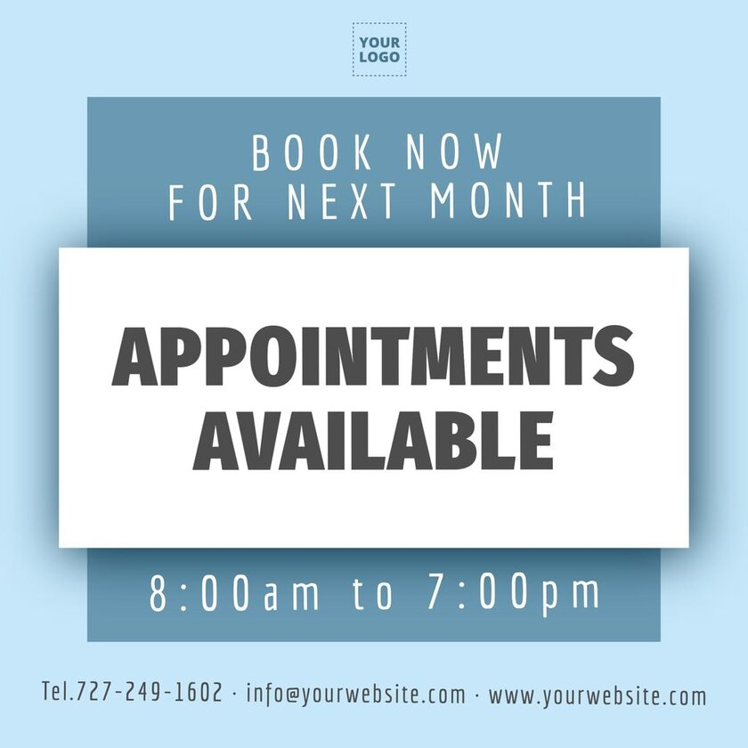 Book now appointments available editable template