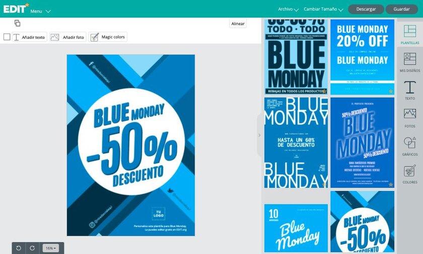 Editor gráfico online de carteles para Blue Monday gratis