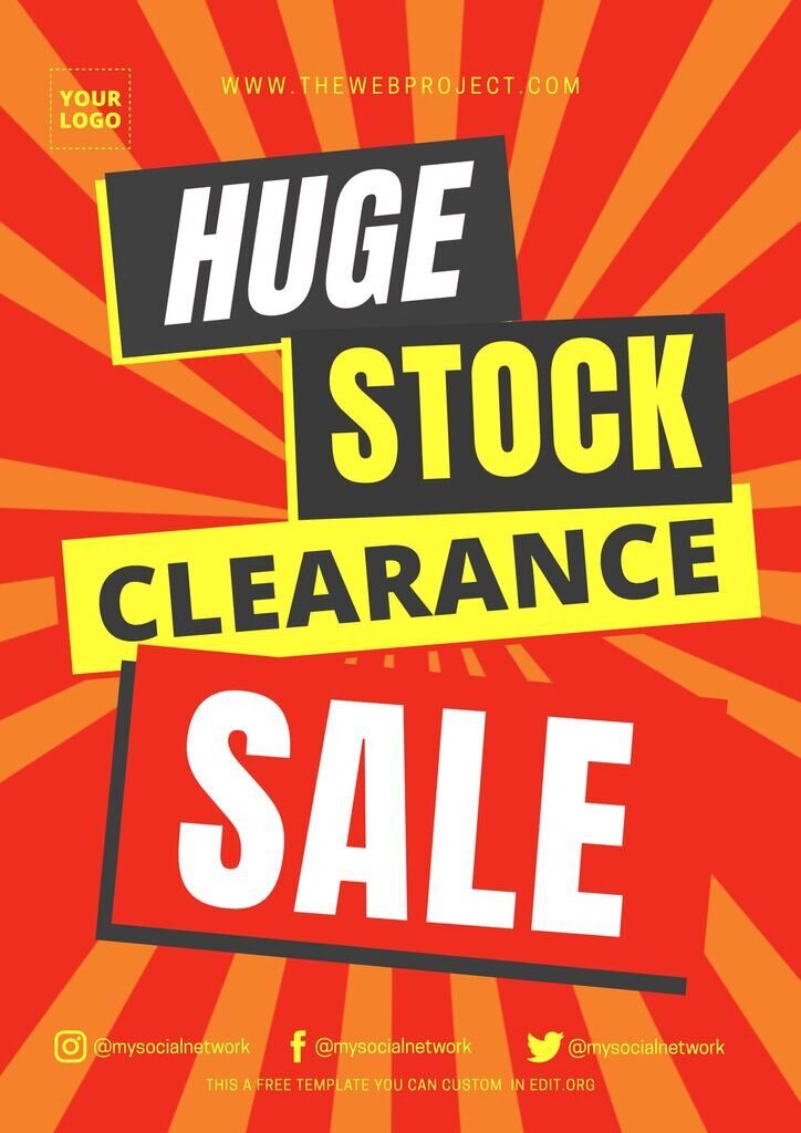 Stock clearance sale sign to edit for free