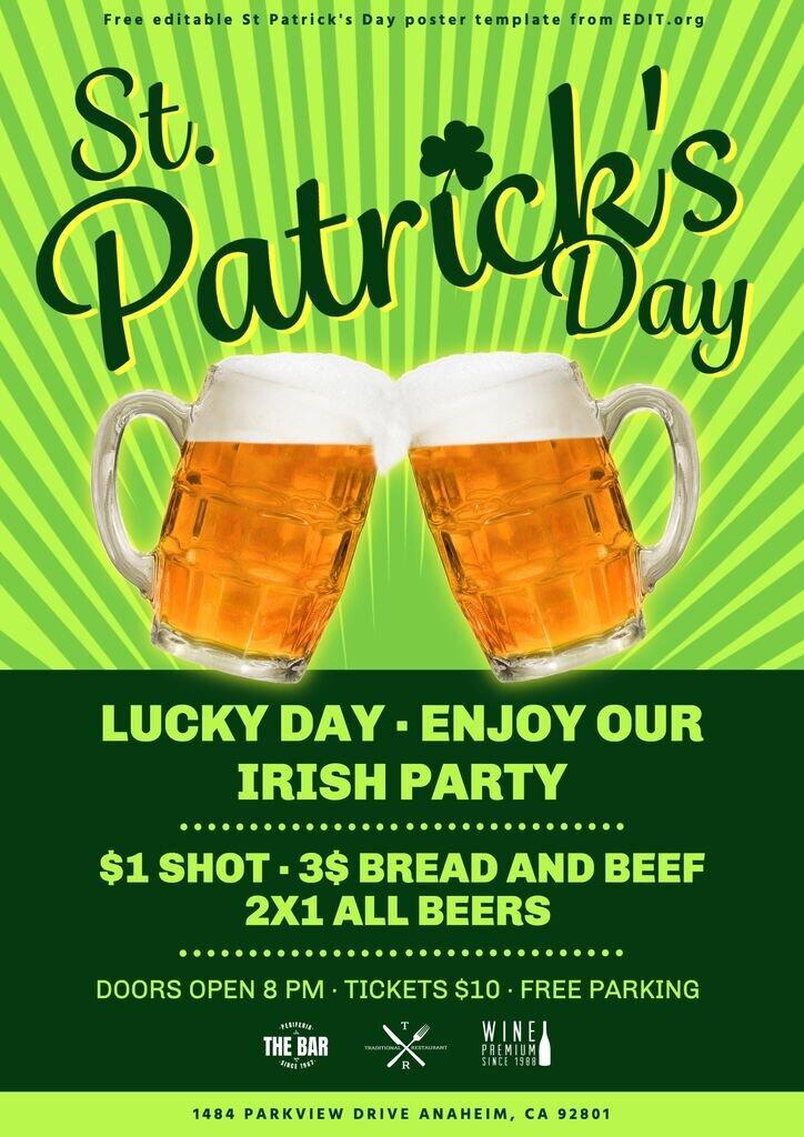 Free customizable Saint Patrick's flyer template
