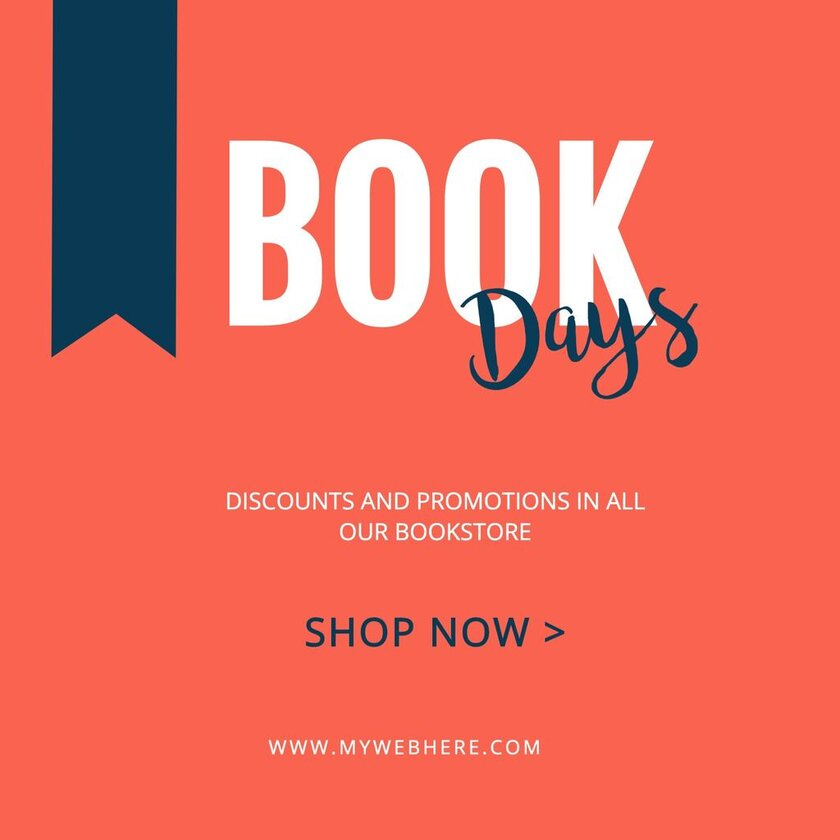 Customizable red banner for Book Day