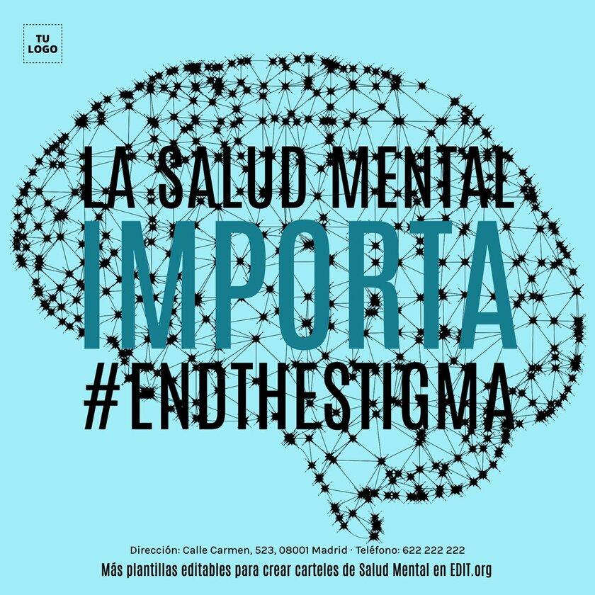 Cartel editable de salud mental para imprimir o publicar como banner online