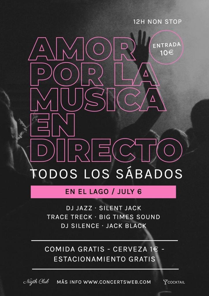 Plantilla cartel amor por la musica concierto live