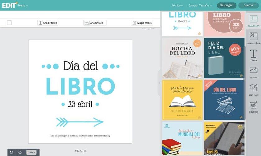 Editor online de plantillas editables para promocionar el Día del Libro Mundial