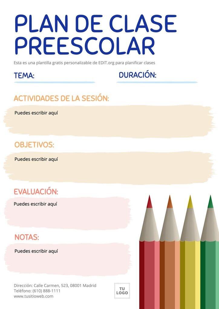 Diseño editable de programación de clases para preescolar