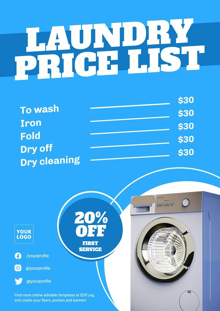 Laundry price list flyer template to edit online for free
