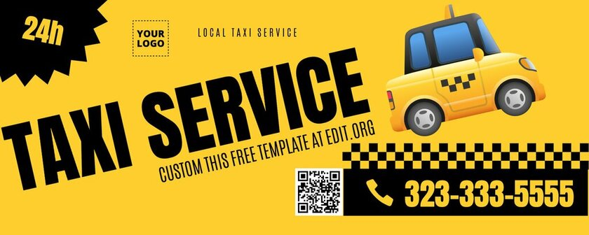 Free editable banner for Taxi Services promotion