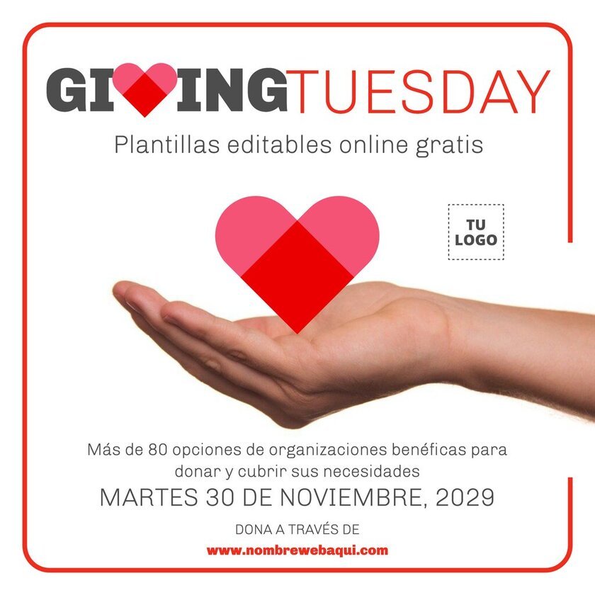 Banner editable online para la campaña de Giving Tuesday