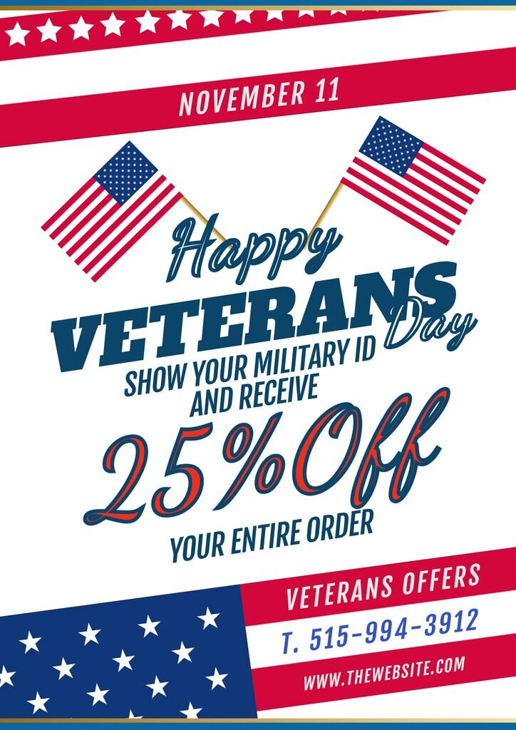 Happy Veterans Day template with clipart to post