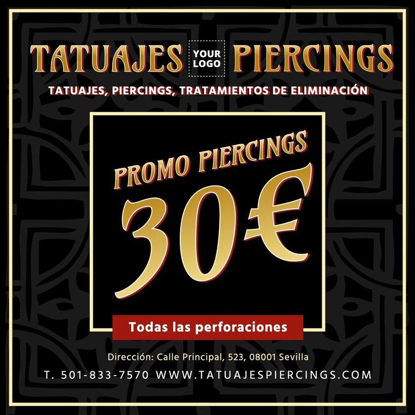 Plantilla para promocionar un precio de tu estudio de tatuajes y piercings