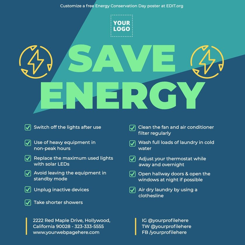 Free poster making on energy conservation