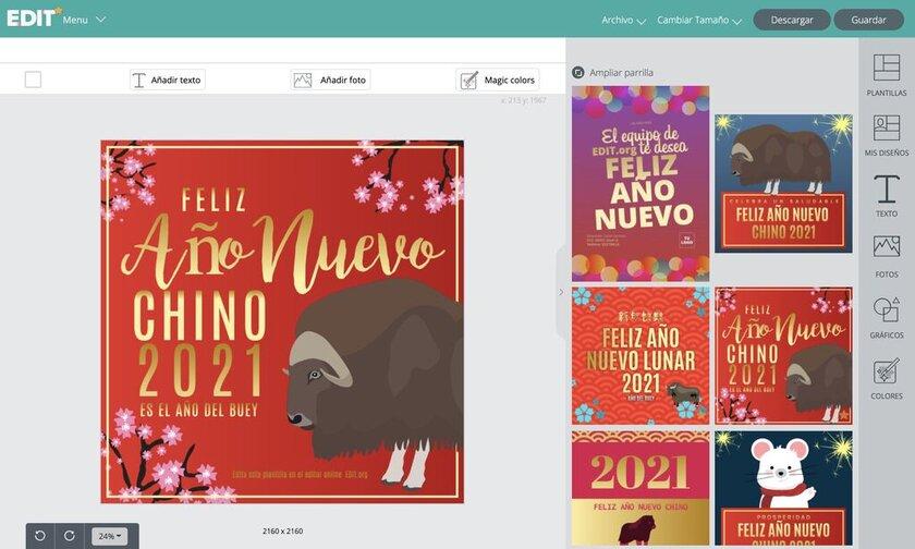 Editor gráfico online de plantillas para el Año Nuevo Chino gratis