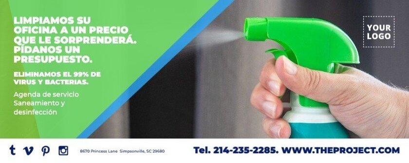Banner horizontal promocion empresa limpieza editable
