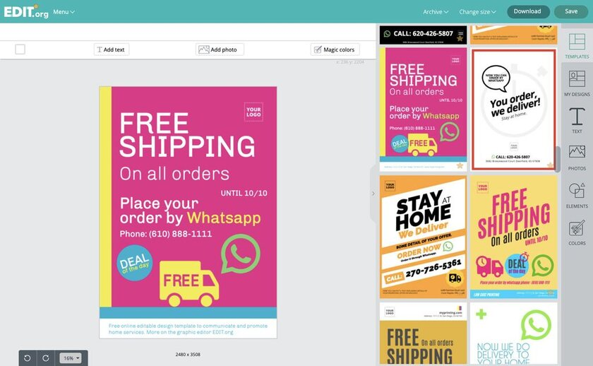 Graphic online templates editor to create designs for delivery and shipping services