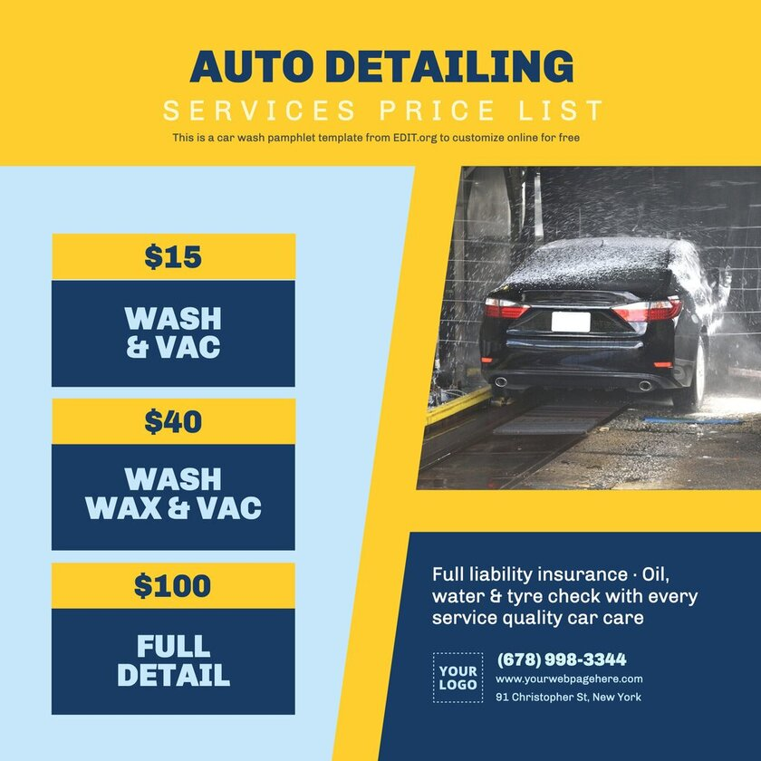 Editable car wash price list template