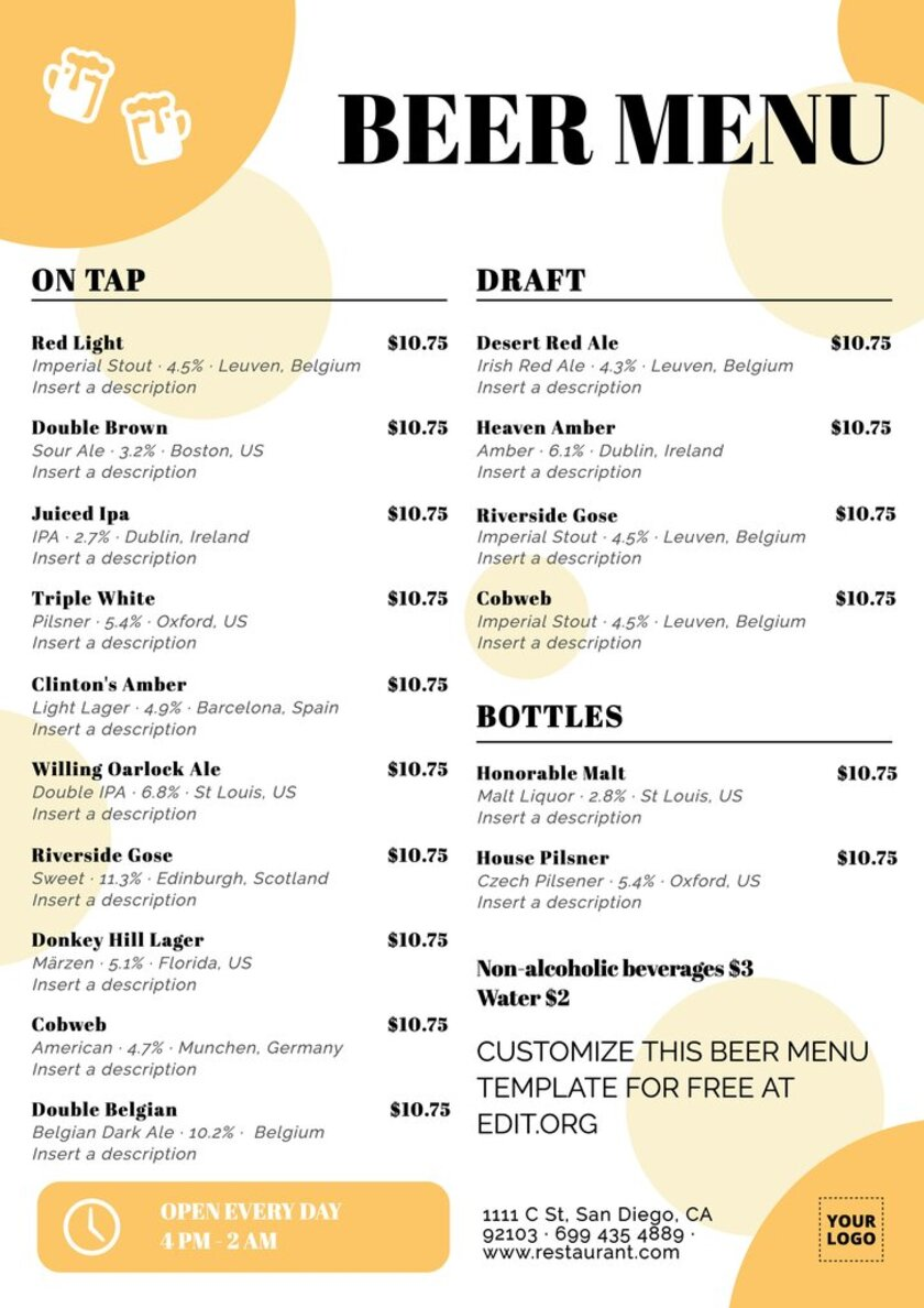Handcrafted beer menu design to custom online and download for free