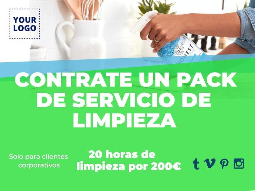 Cartel contrate pack servicio de limpieza para marketing