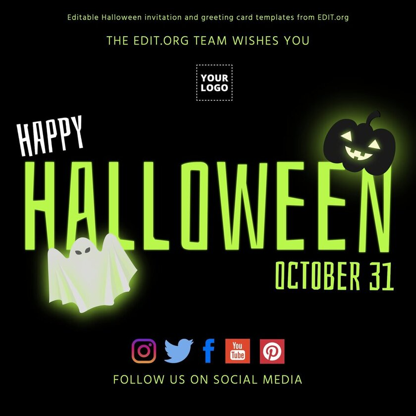 Editable Halloween template for banners and posters