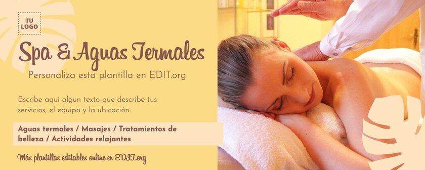 Plantilla editable para crear portadas de Facebook de centros de Spa y Wellness