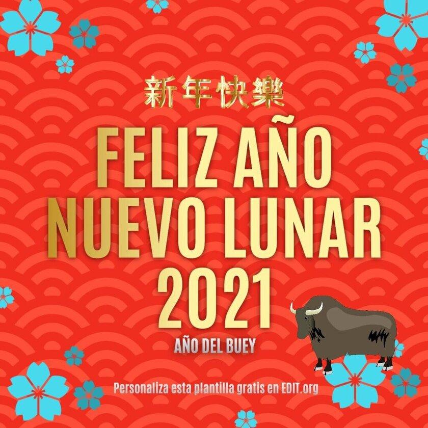 Plantilla editable para felicitar el Año Nuevo Chino 2021, Año del Buey