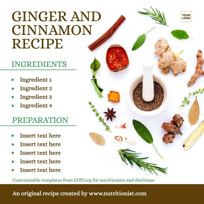 Customizable free templates for nutritionist recipes