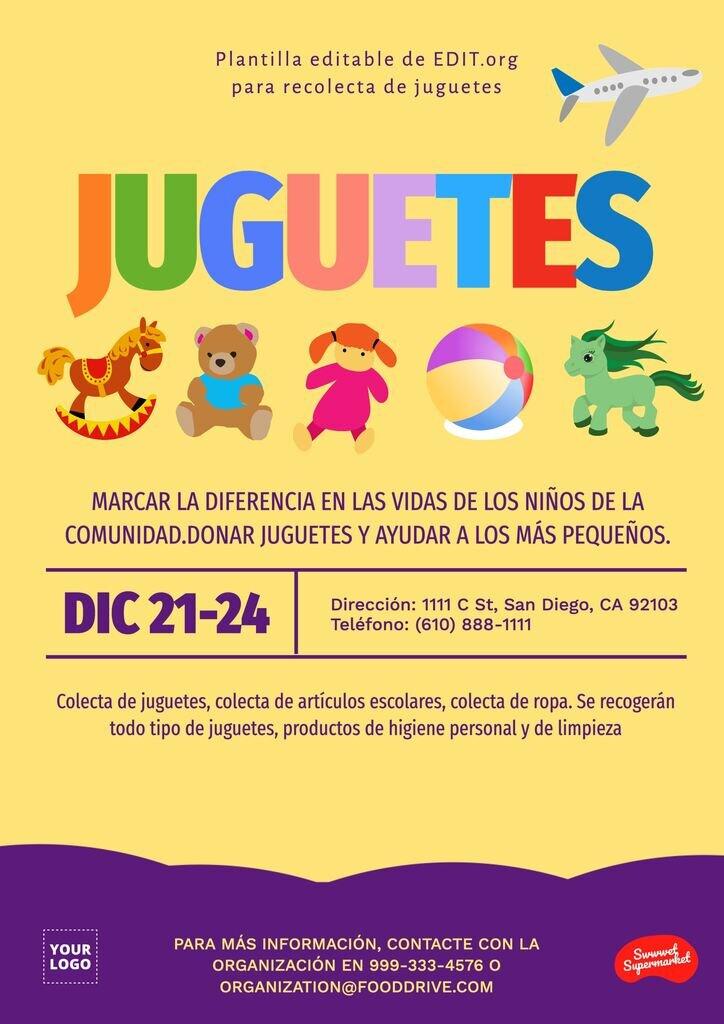 Plantilla gratis editable de recogida banco de juguetes