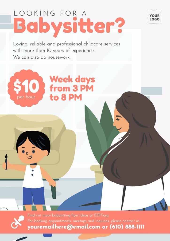 Customizable babysitting poster templates