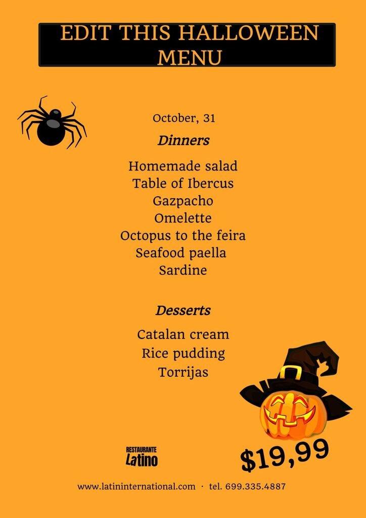 menus halloween