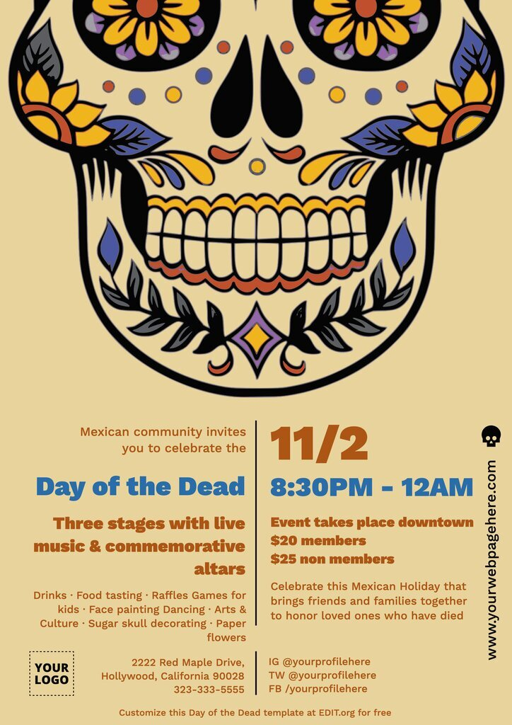 Printable poster for the Day of the Dead