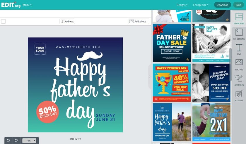 Editable graphic designs to promote father's day