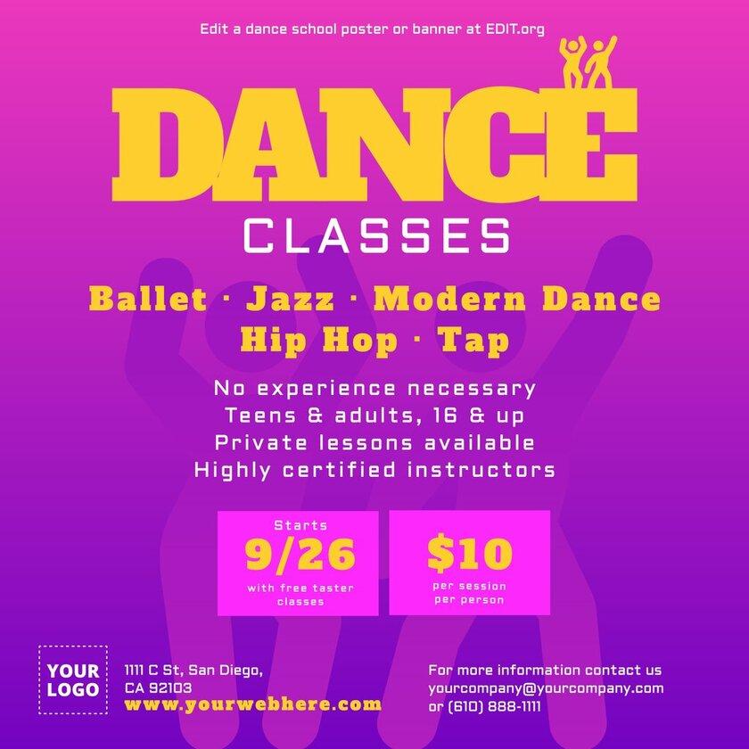 Editable dance class templates for dance academies